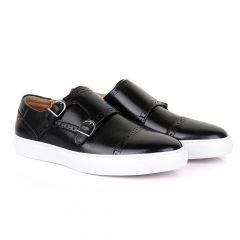 Terry Taylors Double Strap Black Leather Sneaker Shoe