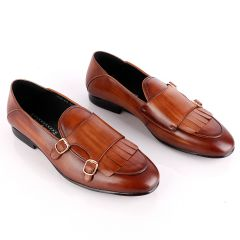 John Foster Monk-Strap with Fringe Brown Leather Shoe