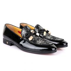 John Foster Gold Flower Graphic Printed  Leather  Shoe