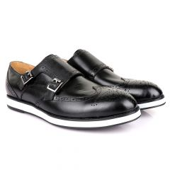 John Foster Men's Double Monk Strap Brogues Shoes-Black