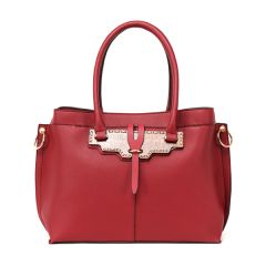 Rad Red Leather 3 In 1 Handbag With Wood Trimmings