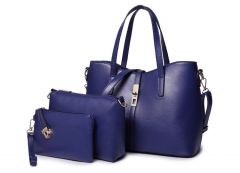 Classic Leather Detachable 3 in 1 Strap Woman Blue Handbag