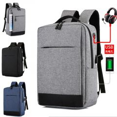 Smart Oxford Backpack With USB Charging Ports Bag- Ash