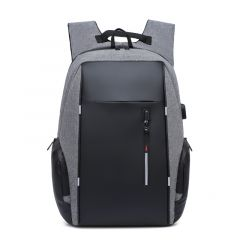 High Capacity BackPack With USB Charging Port- Black/Ash