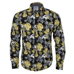 Authentic New Style Collection Black And Yellow Designed Long Sleeve Shirt