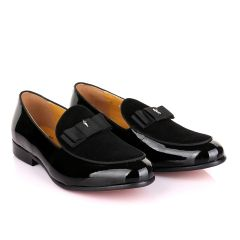 John Mendson Black Patent Bow With Logo Suede Loafers Shoe