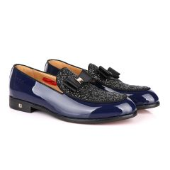 John Foster Blue Patent Bow Fringe with Glittering Stone Shoe