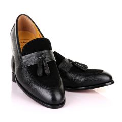 John Mendson Crafted Black and Suede tassel Loafers Shoe