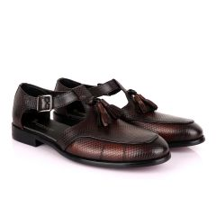 Billionaire Exotic Black Weaven Brown with Tassel Cover Shoe