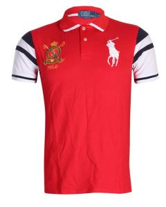 P R L Slim Fit Mesh Big Pony Shirts Red White Black