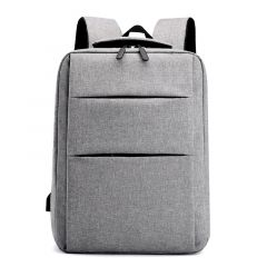 Trendy Oxford Front Double Zipper Designed Business BackPack-Ash