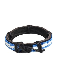 Classic Men's Bracelet Black White and Blue Leather Braided