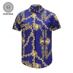 VE VINTAGE Silk Print Blue Yellow Men's short sleeve Shirt