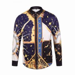 Vintage Ve Classic Domino  Blue Sky Patterned Longsleeve Yellow/Blue Shirt