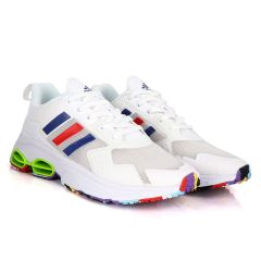 Adidas Sleek White Sneakers With Multi-Colored Sole