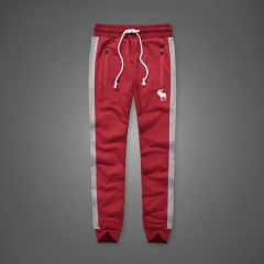 Abercrombie And Fitch Embossed Moose Designed Dual Colored Joggers- Red