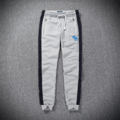A&F Embroidered Blue Moose Logo Designed Ash And NavyBlue  Joggers