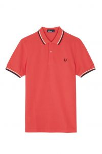 Fred Perry White and Black Striped Collar Polo- Orange