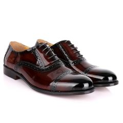 John Foster Patent Oxford Designed Leather -Brown