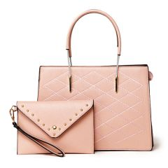 Luxury Women Designer Leather 2 in 1 Bag - Pink