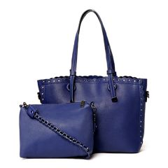 Dreubea Women's Leather With inner HandBag -Blue