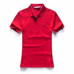 Tommy Hilfiger Crested Design Red Ladies Short-Sleeve Polo
