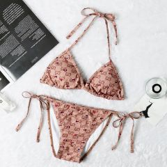 Gucci Two-Piece Heart Designed Brown Bikini