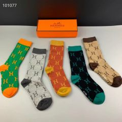 Hermes 5 in 1 Logo Designed Cotton Socks
