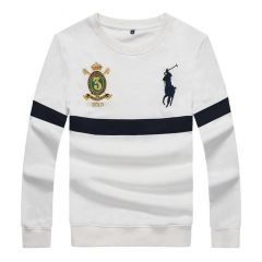 PRL Long Sleeves Embroidered Stripe Logo White Sweat Shirt
