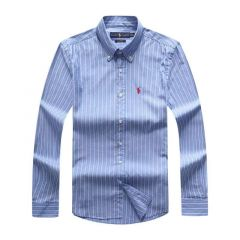 PRL Fit Button-Down Red Pony Logo Blue Long sleeve Shirt