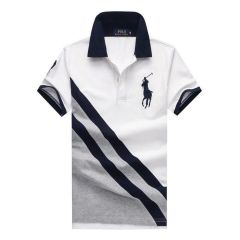 PRL Custom Fitted Big Pony Diagonal Patterned Polo Shirt