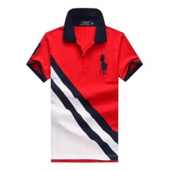 PRL Custom Fitted Big Pony Diagonal Patterned Polo Shirt- Red and White