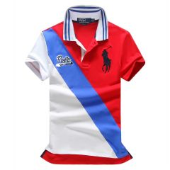 RL Custom Fitted Polo Est 1967 Red and Blue Polo Shirt