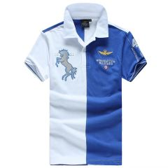 Aeronautica Millitare Royal Blue White Stallion Shortsleeve Polo