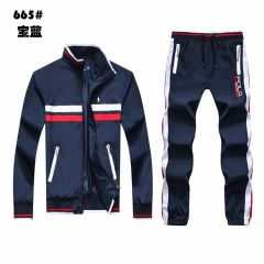 Polo RL Small Pony White And Red Stripped Tracksuit-Navy Blue
