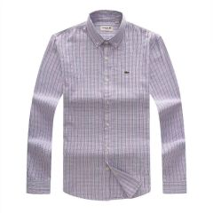 Lacoste Micro Black Purple  Checkered Button-Down Long Sleeve Shirt