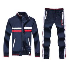 PRL Fashionable POLO Tailored Track Suit with Stripe- NavyBlue